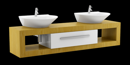 double sink: modern double bathroom sink isolated on black background