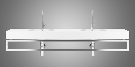double sink: double ceramic bathroom sink isolated on gray background Stock Photo