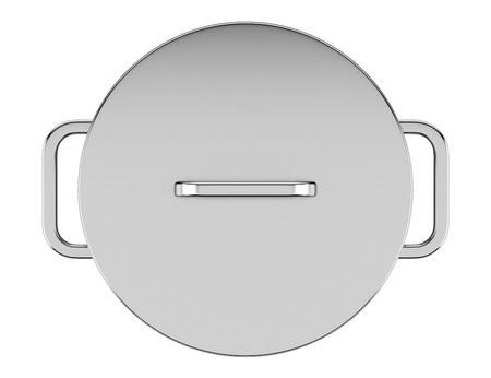 top view of cooking pan isolated on white background photo