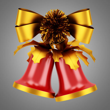 christmas bells with golden bow isolated on gray background photo