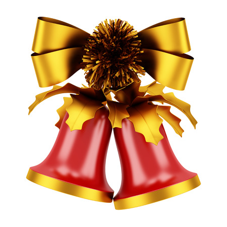 christmas bells with golden bow isolated on white background photo