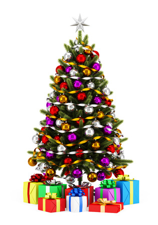 decorated christmas tree with gift boxes isolated on white background stock photo 32003815