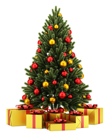 balls decorated: decorated christmas tree with gift boxes isolated on white background Stock Photo