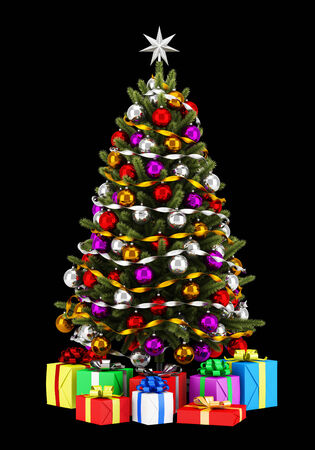 balls decorated: decorated christmas tree with gift boxes isolated on black background