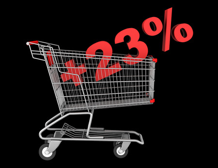 shopping cart with plus 23 percent sign isolated on black background photo