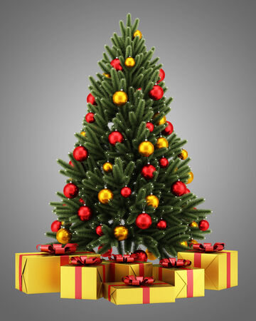 decorated christmas tree with gift boxes isolated on gray background photo