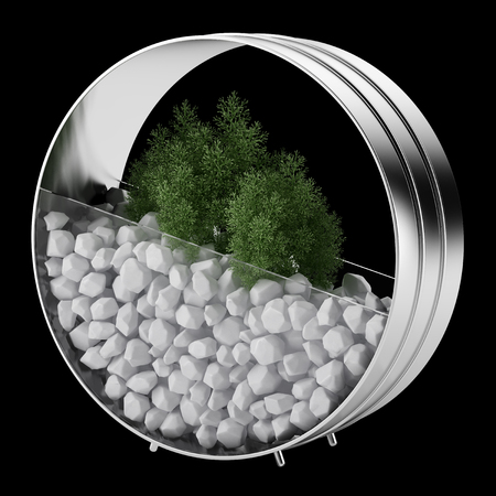 black metallic background: houseplant in metallic pot isolated on black background Stock Photo