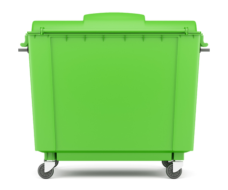 green garbage container isolated on white background photo
