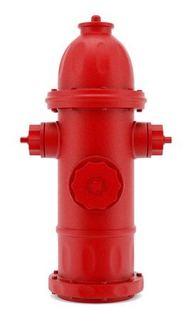 borne fontaine: borne rouge isolé sur fond blanc Banque d'images