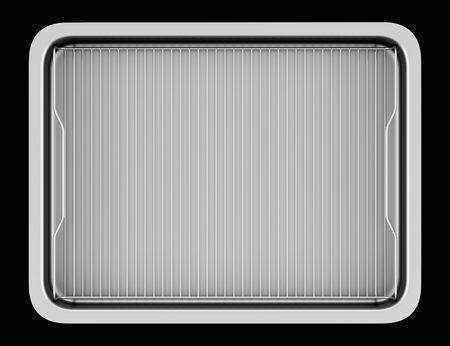 black metallic background: top view of metallic baking dish isolated on black background
