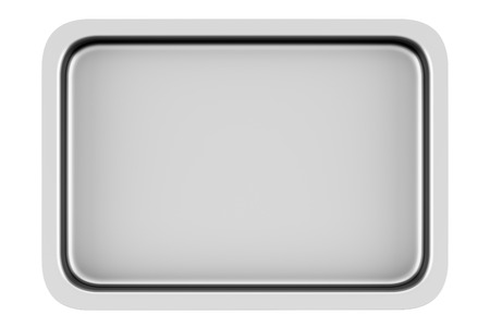 baking tray: top view of metallic baking dish isolated on white background