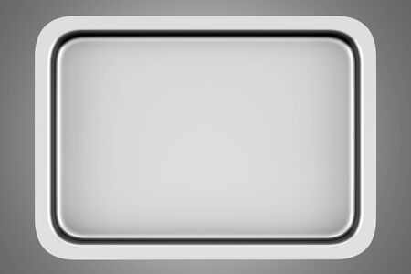 baking tray: top view of metallic baking dish isolated on gray background Stock Photo