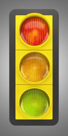traffic light isolated on gray background photo