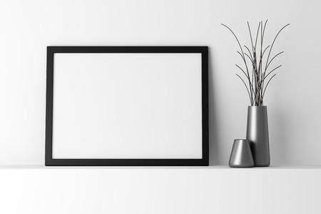 noir et blanc: blanc cadre photo en noir sur le plateau blanc
