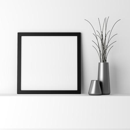 白い棚に空白の黒の写真フレーム