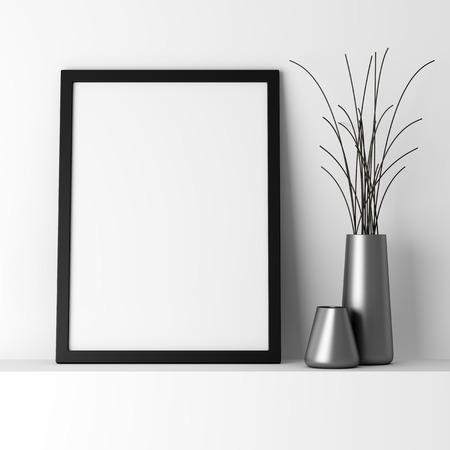blank black photo frame on white shelf
