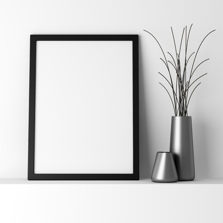 empty: blank black photo frame on white shelf