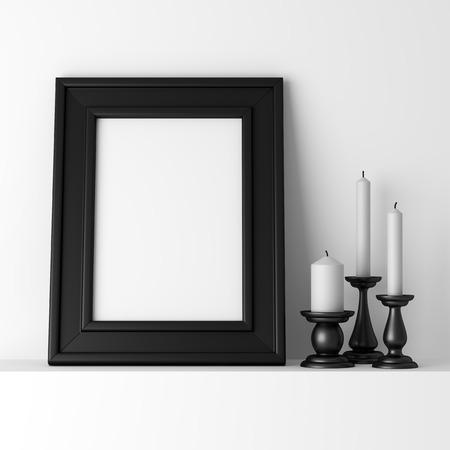 흰색 선반에 빈 검은 사진 프레임