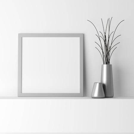 blank gray photo frame on white shelf photo