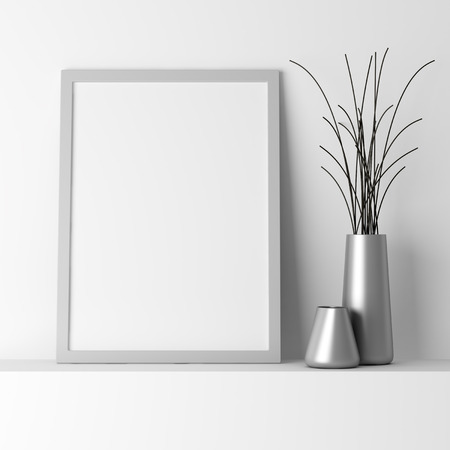 blank gray photo frame on white shelf