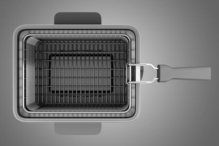 fryer: top view of modern deep fryer isolated on gray background