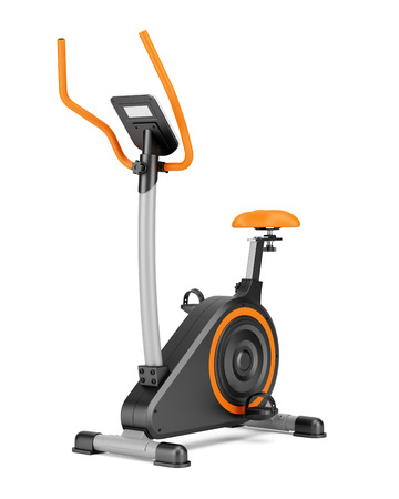 isolated  on white: stationary exercise bike isolated on white background Stock Photo