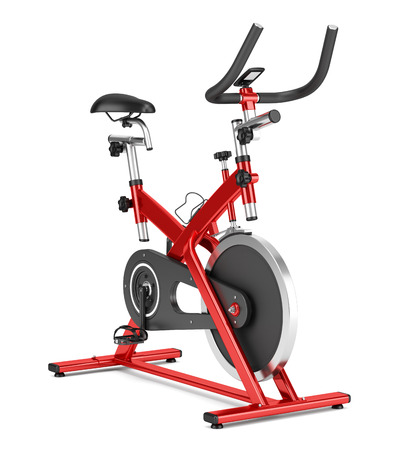 stationary exercise bike isolated on white background 版權商用圖片