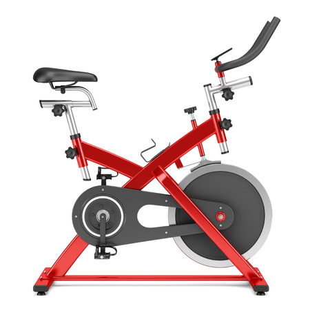 stationary exercise bike isolated on white background Stok Fotoğraf