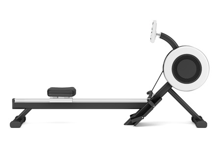 rowing: gym rowing machine isolated on white background
