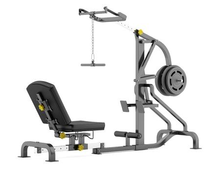 palanca: máquina de gimnasio palanca aislado en fondo blanco