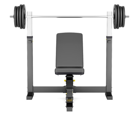 adjustable dumbbell: gym adjustable weight bench with barbell isolated on white background Stock Photo