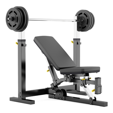 WEIGHT: gym adjustable weight bench with barbell isolated on white background Stock Photo