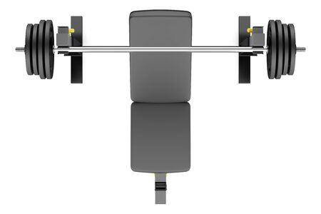 adjustable dumbbell: top view of gym adjustable weight bench with barbell isolated on white background Stock Photo