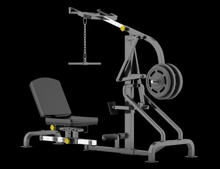 lever: lever gym machine isolated on black background Stock Photo