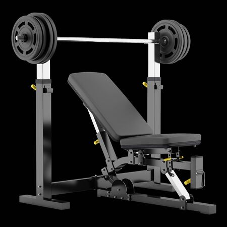 adjustable dumbbell: gym adjustable weight bench with barbell isolated on black background Stock Photo