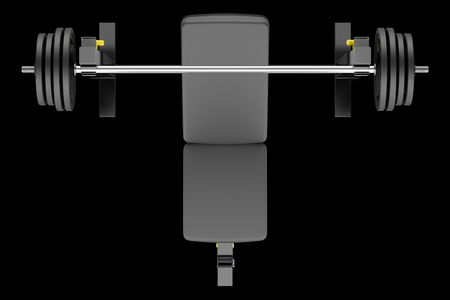 adjustable dumbbell: top view of gym adjustable weight bench with barbell isolated on black background