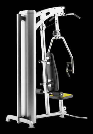 weight machine: multigym machine isolated on black background