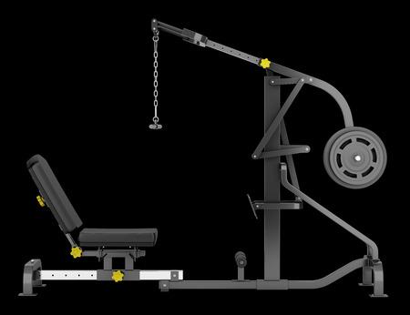 palanca: máquina de gimnasio palanca aislado en el fondo negro Foto de archivo