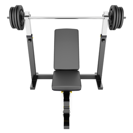 gym adjustable weight bench with barbell isolated on white background Stock Photo
