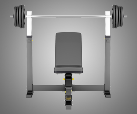 adjustable dumbbell: gym adjustable weight bench with barbell isolated on gray background