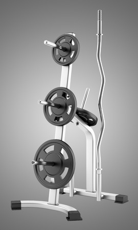 isolated on gray: gym weight rack isolated on gray background