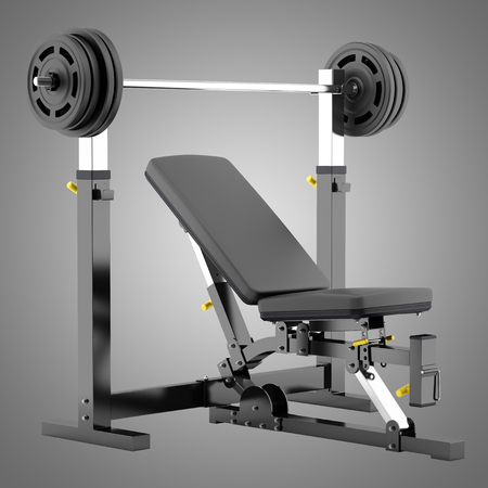 adjustable: gym adjustable weight bench with barbell isolated on gray background