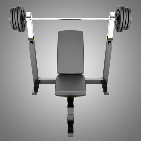 gym adjustable weight bench with barbell isolated on gray background