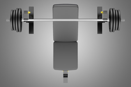 adjustable dumbbell: top view of gym adjustable weight bench with barbell isolated on gray background