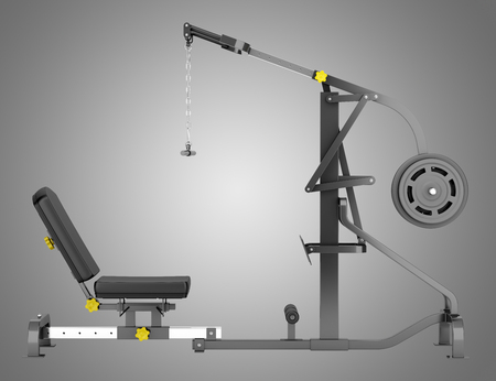 palanca: lever gym machine isolated on gray background Foto de archivo
