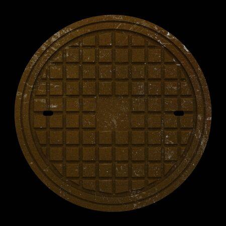 manhole cover: rusty manhole cover isolated on black background