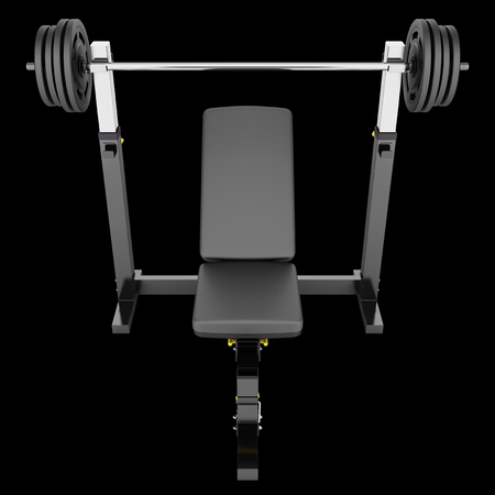 gym adjustable weight bench with barbell isolated on black background Stock Photo
