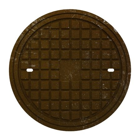manhole cover: rusty manhole cover isolated on white background
