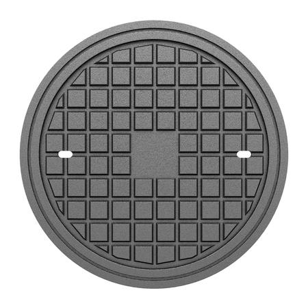 manhole: metallic manhole cover isolated on white background