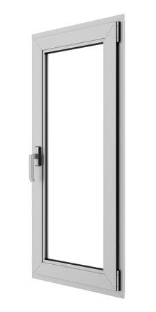 window frame: gray metallic window isolated on white background